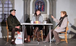 A fine line between potent drama and debating society … Robert East, Kirsty Cox and Susan Tracy in Our Church.