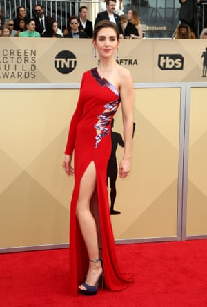 Glow's Alison Brie wearing a Dundas gown.