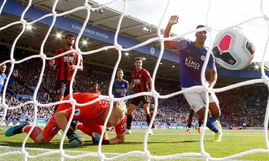 Youri Tielemans, who completed a permanent move to Leicester this summer, scores in the home win over Bournemouth.