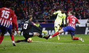 Barcelona's Ousmane Dembélé, scores his side's equaliser against Atlético Madrid.