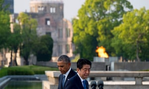 Barack Obama and Shinzo Abe after the two laid wreaths.
