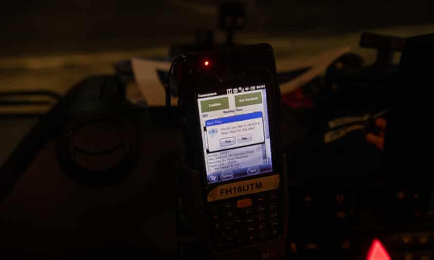 A device in the cab of Biffa lorry that allows the driver to issue an alert if they find anyone sleeping in or near a bin