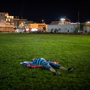 A Russian fan after the quarter-final defeat to Croatia at Fisht Stadium in Sochi.