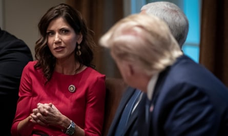 Kristi Noem and Donald Trump at the White House on 16 December 2019 in Washington DC.