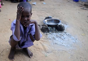 A displaced Somali child at a makeshift camp on the outskirts of the capital, Mogadishu