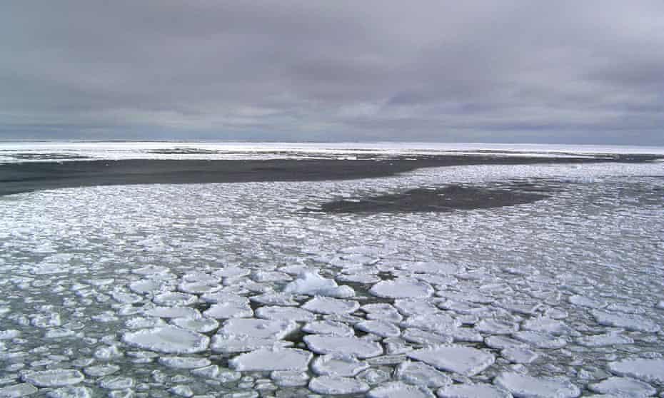 Sea ice on the ocean surrounding Antarctica.