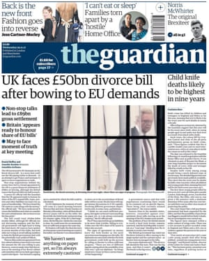 Guardian front page, Wednesday 29 November 2017