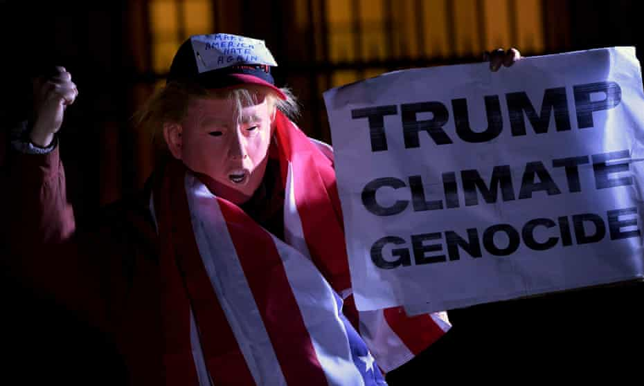 A November 2016 in London against Donald Trump's views on climate change.