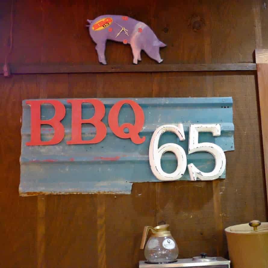 Interior sign at BBQ 65 at Greenville, Alabama, US.