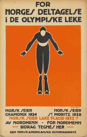 For Norges Deltagelse i de Olympiske Leke. Window card, c 1932 by Johan Bull