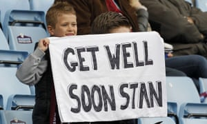 A Villa fan offers his support.