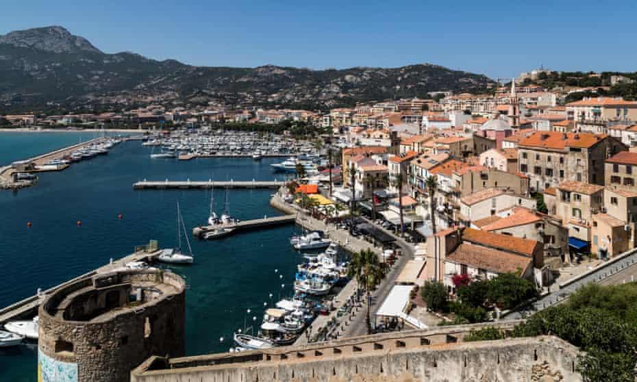 The city walls and waterfront at Calvi, Corsica, France.