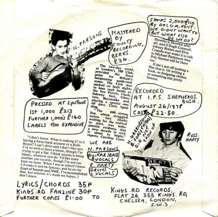 The rear sleeve on Television Personalities' Where is Bill Grundy Now? single.
