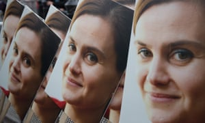 Poster boards showing a photograph of murdered Labour MP Jo Cox at a memorial event in Trafalgar Square, London, on June 22 2016