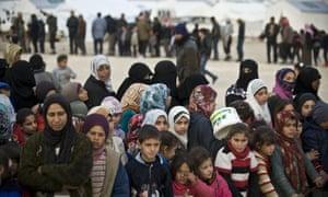 Syrian refugee camp on Turkey-Syria border near Aleppo