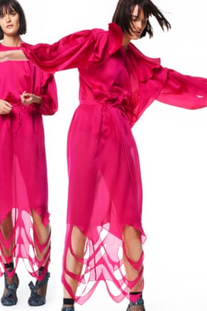 In the pink: two outfits from the Preen Resort 2017 lookbook.