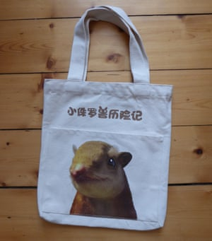 Picture of a canvas tote bag featuring Juramaia, the main character in a 4D movie made for the BMNH exhibition of early mammal fossils from China.
