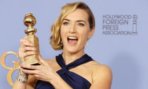 Kate Winslet with her Golden Globe for best supporting actress.
