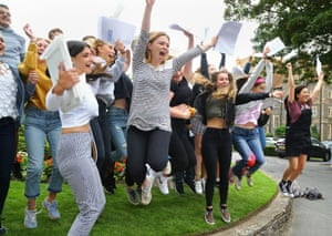 The ladies of Brighton College jump for joy at receiving their results this morning