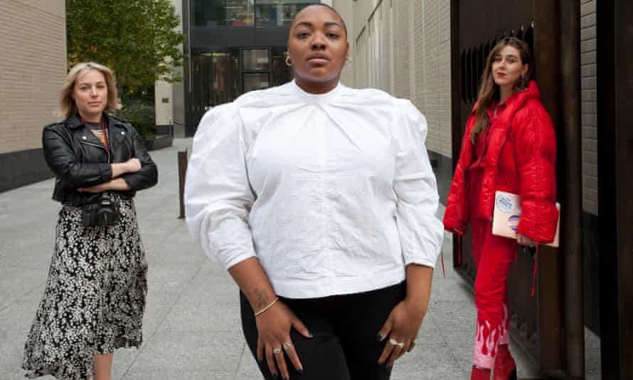 Model Nyome Nicholas-Williams (centre) with photographer Alexandra Cameron (left) and campaigner Gina Martin outside Facebook's London headquarters