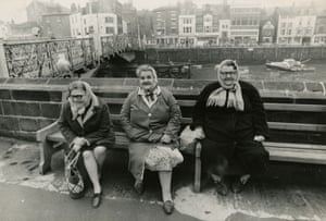 Women by the quayside wall in Whitby, North Yorkshire, April 1969.