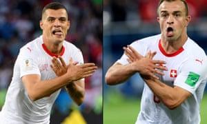 Granit Xhaka and Xherdan Shaqiri and the gestures that angered Serbia.