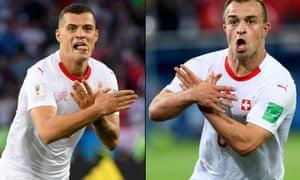 Granit Xhaka, left, and Xherdan Shaqiri making the nationalist symbol after scoring against Serbia in Kaliningrad on Friday night.