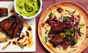 Photograph of Thomasina Miers' Korean pork belly with red cabbage, apple slaw and avocado cream