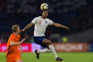 Matthijs de Ligt of Netherlands looks on as Marcus Rashford of England controls the ball