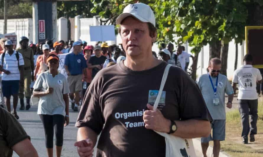 Wayne Lotter taking part in a Walk for Elephants in Dar es Salaam early this year.