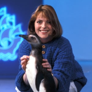 Janet Ellis (and penguin) on Blue Peter in 1987.