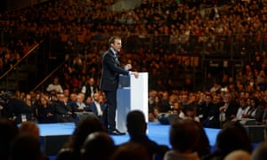 Emmanuel Macron delivers a speech during a campaign meeting in Lille, France.