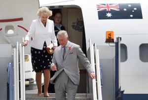 Touchdown at RAAF Base Edinburgh in Adelaide, where Prince Charles and his wife Camilla began their tour of Australia.