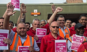 Workers at the Hornsey Road sorting office in North London listen to a representative of the Communication Workers Union (CWU) on September 10, 2019 in London.