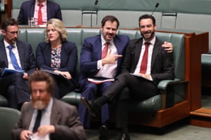 Not backbenchers. Labor MPs Ed Husic and Tim Hammond during question time with Claire O'Neill and Stephen Jones