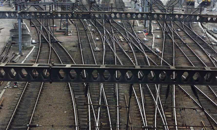 Railway lines outside King's Cross station, London