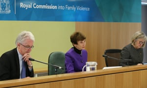 Justice Marcia Neave with deputy commissioners Tony Nicholson and Patricia Faulkner during royal commission hearings.