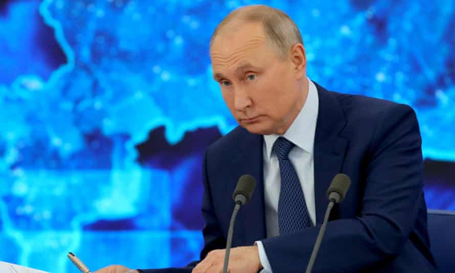 Vladimir Putin gives his annual end-of-year news conference via video link on Thursday.