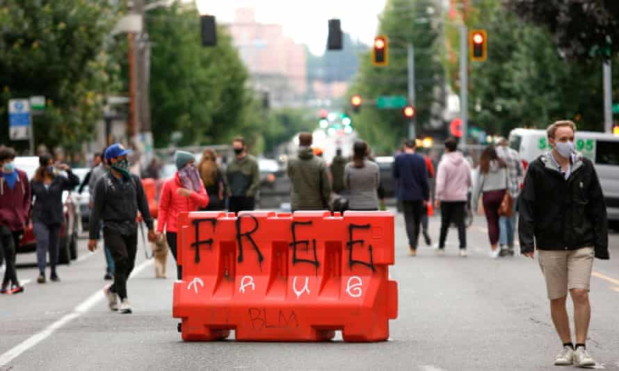 A barricade in an area of Seattle being called the Capitol Hill Autonomous Zone, or Chaz.