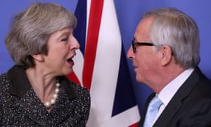 Theresa May and European commission president Jean-Claude Juncker during Brexit talks in Brussels.