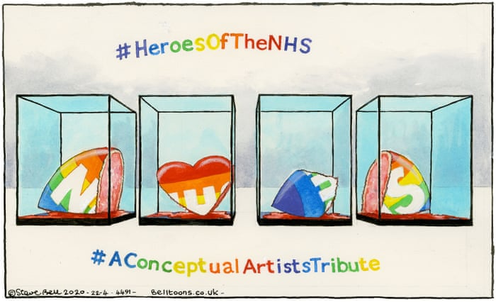 Steve Bell On Damien Hirst S Tribute To Nhs Workers Cartoon Opinion The Guardian
