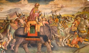 A painting of Hannibal and his army on the wall of the Capitoline Museum, Rome.