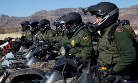 Border patrol agents in Arizona. Raices has condemned Salesforce's relationship with CBP.