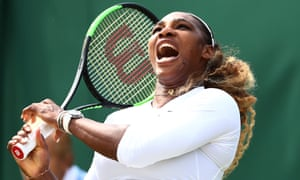 Serena Williams during her third-round mixed doubles match with Andy Murray against Nicole Melichar and Bruno Soares.