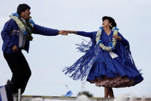 Evo Morales dances during a campaign rally in Bolivia