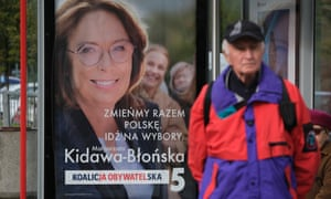 An election poster for the opposition prime ministerial candidate Małgorzata Kidawa-Błońska