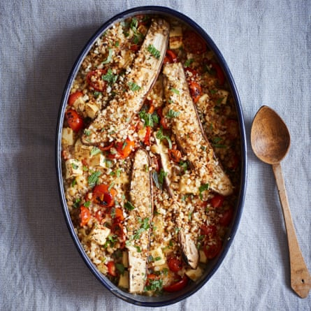 Nik Sharma's baked aubergine with lentils, paneer and tomatoes.