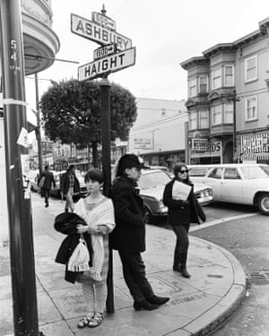 Hippies at the corner of Haight-Ashbury in 1967, the epicenter of the summer of love.