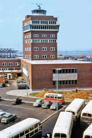 A 1957 view of the new Central Area control tower with BEA RF4 buses parked in the foreground