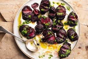 Hasselback beetroot with lime leaf butter